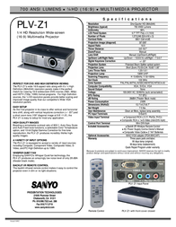 Sanyo 1/4 HD WideScreen Home Entertainment Projector PLV-Z1 PLVZ1 Leaflet