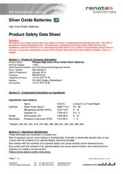 Renata Button cell SR44, SR1154 Silver oxide 357 160 mAh 1.55 V 1 pc(s) 357.CU MF Data Sheet