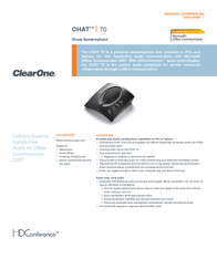 ClearOne Chat 70 Data Sheet