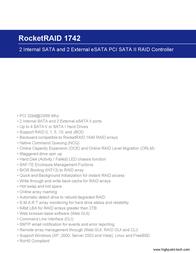 Highpoint RocketRAID 1742 RR1742 Leaflet
