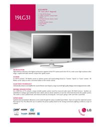 Goldstar 19LG31 Specification Sheet