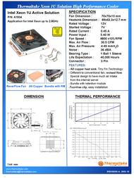 Thermaltake XEON 1U Server Fan A1934 Leaflet