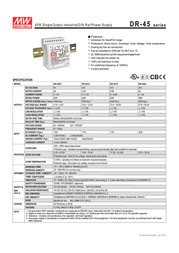 MEAN WELL DR-45-24 DIN-Rail Power Supply Unit, 45W 24V DC DR-4524 Data Sheet