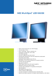 NEC MultiSync LCD1980SX (Black) 60000990 Leaflet