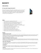 Sony XBR55X900C Specification Sheet