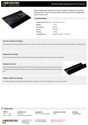 Revoltec Multimedia Keyboard K102 Touch RE103 Leaflet