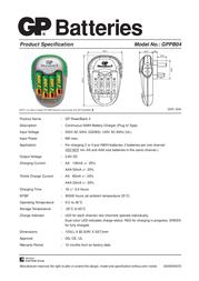 GP Batteries GP PowerBank 3  Model No.: GPPB04 13004GSC4 Leaflet