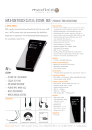 Maxfield MAX Sin Touch 1GB MP3-Player 101760 Leaflet