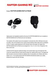 Raptor Gaming Gaming Mouse M2 Platinum 616 Leaflet