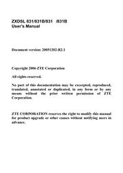 ZTE ZXDSL 831 User Manual