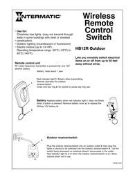 Intermatic hb12r Supplementary Manual