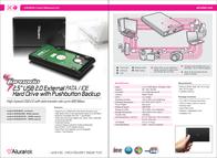 "Aluratek Tornado 2.5"" USB 2.0 External PATA / IDE Hard Drive w/ Pushbutton Backup 100GB AHDUB250100 Leaflet"