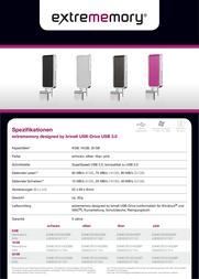 Extrememory 8GB USB 3.0 EXMEUFD38GDBS Leaflet