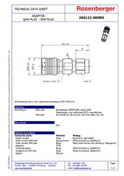 Rosenberger QMA adapter QMA plug - SMA plug 28S132-S00N5 1 pc(s) 157980 Data Sheet