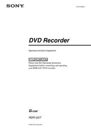 Marware SONY RDR-GX7 Manuale Utente