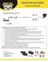 Night Owl Optics Security Camera CAM-4PK-600 Leaflet