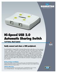 Manhattan Hi-Speed USB 2.0 Automatic Sharing Switch 162012 Leaflet