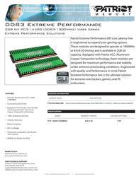 Patriot Memory DDR3 2GB (2 x 1GB) PC3-14400 Low Latency DIMM Kit PVS32G1800LLKN Leaflet