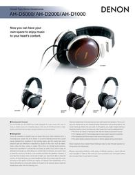 Denon AH-D2000: High Performance Over-Ear Headphones AH-D2000 Leaflet