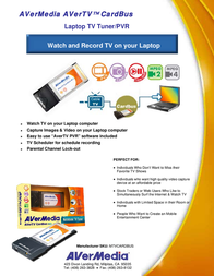 AVerMedia AVerTV CardBus PCMCIA E500 Leaflet