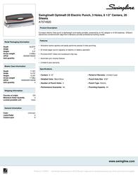 Swingline Optima 20 A7074520 Leaflet