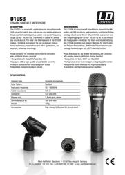 LD Systems D 1 USB D1USB Leaflet