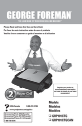 George Foreman Power Grill GRP101CTG User Manual