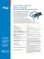 Intel PRO/1000 MT Server Adapter PWLA8490MTBLK5 Leaflet