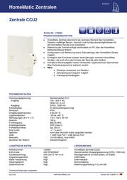 Homematic 103584 Wireless control hub 103584 Data Sheet