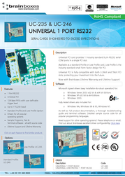 Brainboxes Universal 1-Port RS232 PCI Card UC-246 User Manual