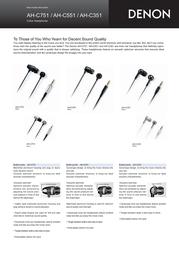 Denon AH-C751: Reference In-Ear Headphones, silver AH-C751S Leaflet