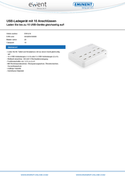 Ewent By Eminent USB charger Mains socket EW1218 USB 10 x 2400 mA EW1218 Data Sheet