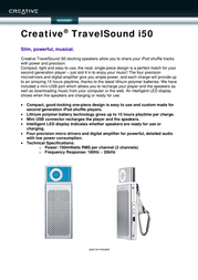 Creative Labs TravelSound i50 51MF5095AA000 Leaflet
