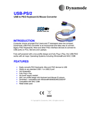 Dynamode USB to PS/2 Keyboard & Mouse Converter USB-PS/2 Merkblatt