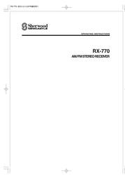 Sherwood RX-770 User Manual