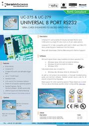 Brainboxes Universal 8-Port RS232 PCI Card (LP) UC-279 User Manual