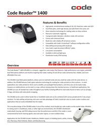 Code Corporation Code Reader 1400 CR1411-C500-F1 Leaflet