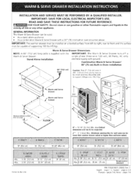 Kenmore Pro 30'' Warming Drawer Specification Guide