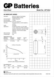 GP Batteries AA GP15AUTR-2U8 Data Sheet