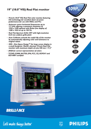 """Philips 19"""" Real Flat Monitor 109P40 Leaflet"""