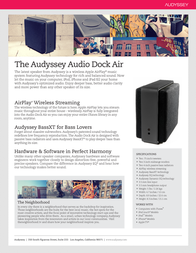 Audyssey Laboratories Audio Dock Air AUD010003000202 Leaflet