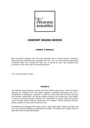Vienna Acoustics Concert Grande User Manual
