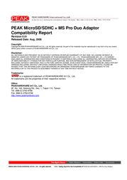 PEAK microSD card & MS Pro Duo Adapter 2GB 288879FBPK User Manual