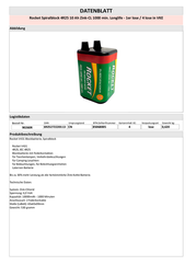 Rocket LATERNENBATTERIE ZINK-CHLORID 4R25 90260R Data Sheet