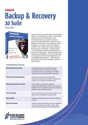 Paragon Backup & Recovery 10 Suite, DE PSG-140-PRG-PL-MKG User Manual