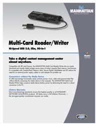 Manhattan Multi-Card Reader/Writer 100762 Leaflet
