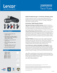 Lexar 8GB JumpDrive TwistTurn LJDTT8GBABNL Leaflet