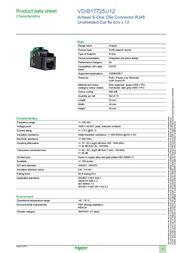 Schneider Cat5e RJ45 Connector VDIB17725U12 Data Sheet