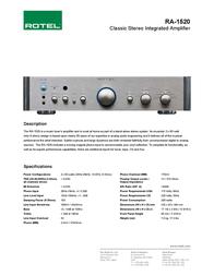Rotel RA-1520 RA1520/ZIL Leaflet