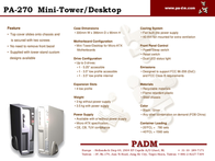 PADM PA-270 Mini-Tower/Desktop 08-311401#03 Leaflet